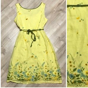 Odille Anthro Yellow Floral Handkerchief Dress